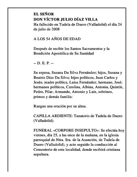 Esquela De Don Víctor Julio Díaz Villa Esquela Esquela En El