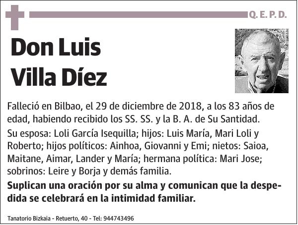 Esquela De Luis Villa Díez Esquela Esquela En El Correo