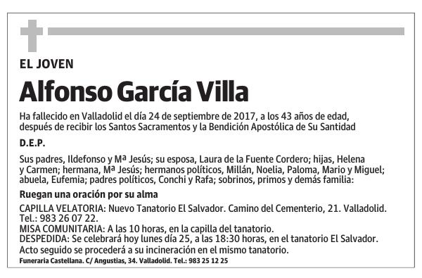 Esquela De Alfonso García Villa Esquela Esquela En El Norte De