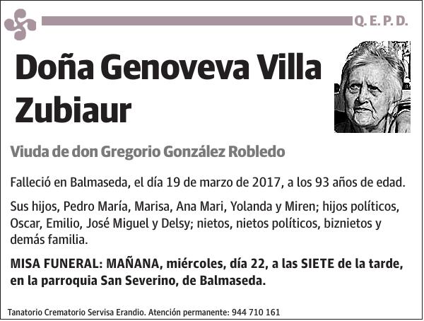 Esquela De Genoveva Villa Zubiaur Esquela Esquela En El Correo