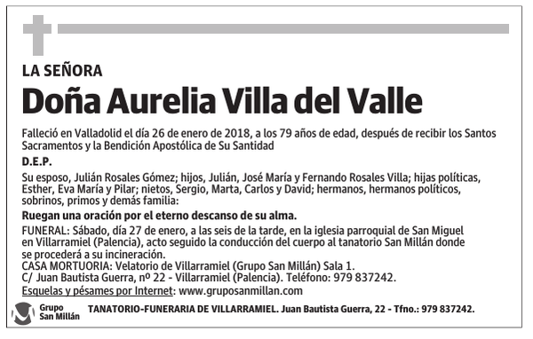 Esquela De Doña Aurelia Villa Del Valle Esquela Esquela En El