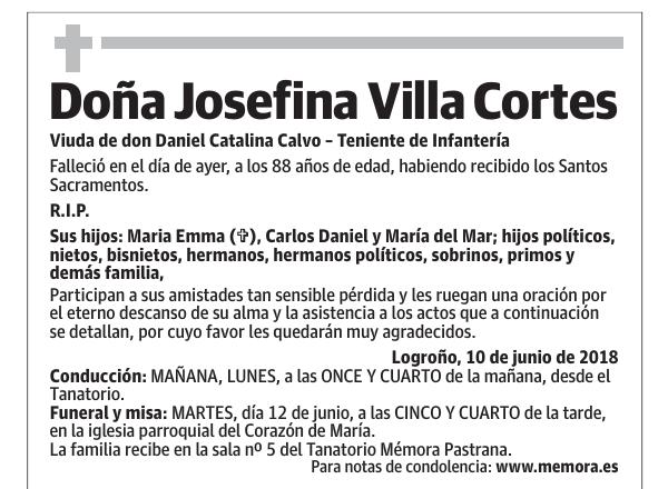 Esquela De Doña Josefina Villa Cortes Esquela Esquela En La Rioja