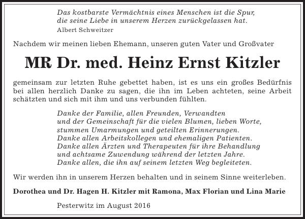 Mr Dr Med Heinz Ernst Kitzler Danksagung Sächsische Zeitung
