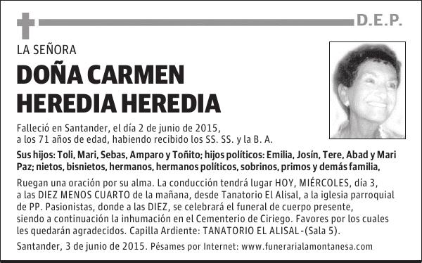 Esquela De Carmen Heredia Heredia Esquela Esquela En El Diario